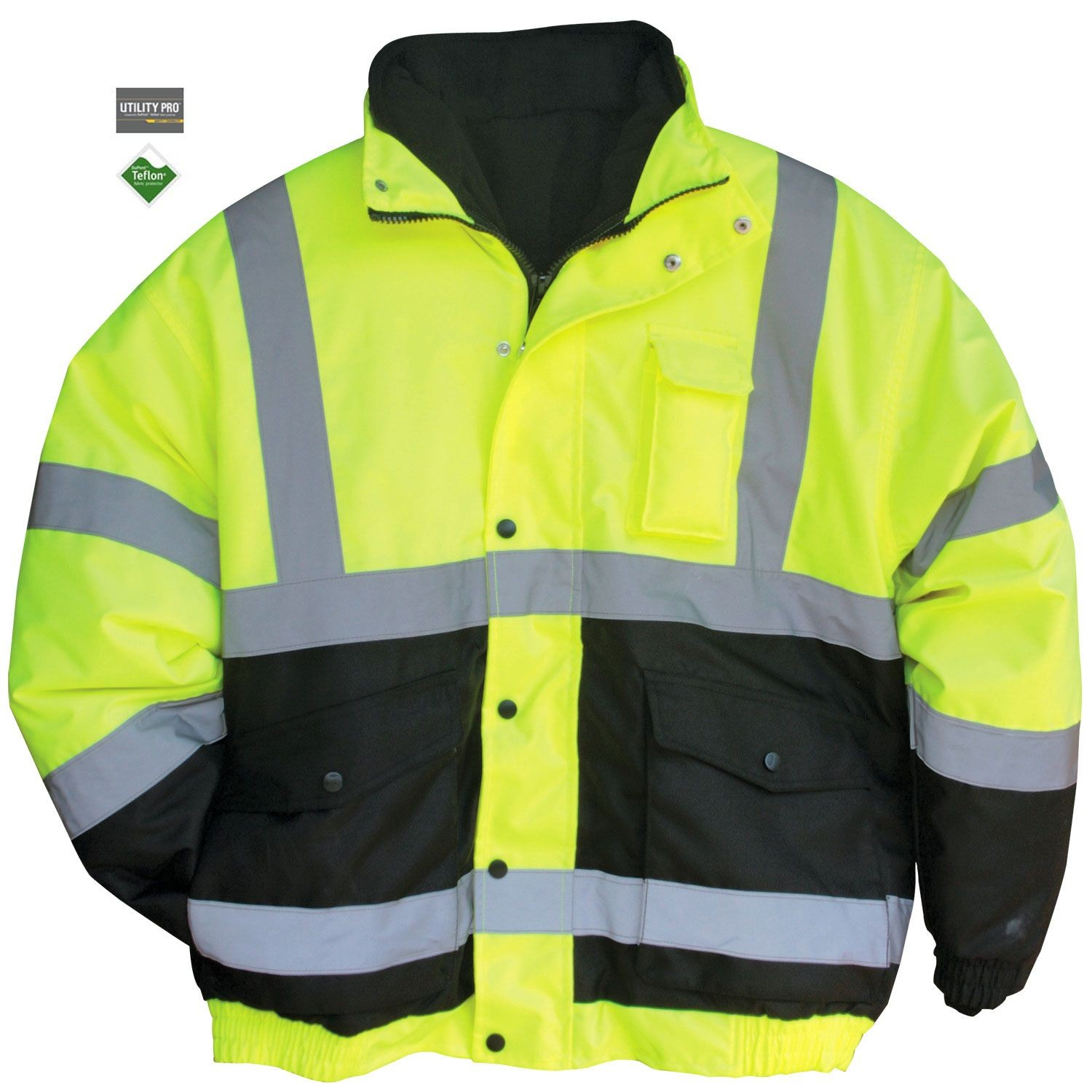 Yellow UHV575,Lime Utility Pro High Visibility Reflective Safety Bomber Jacket with Removable Fleece Liner With Waterproof Teflon Protection Medium