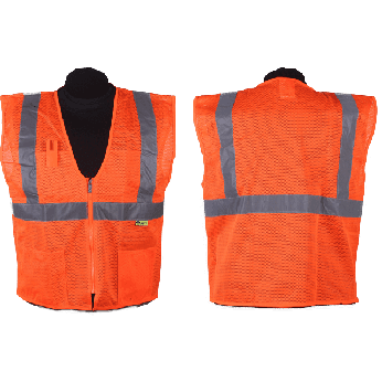 ANSI II MESH ZIPPER  VEST-ORANGE
