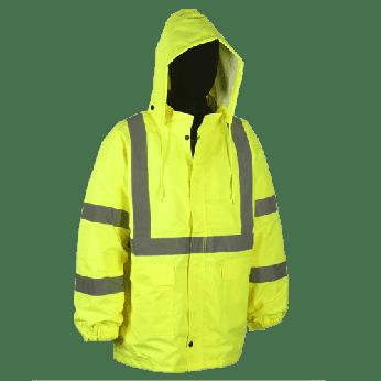 ANSI 3 HI-VIS LIME RAIN JACKET