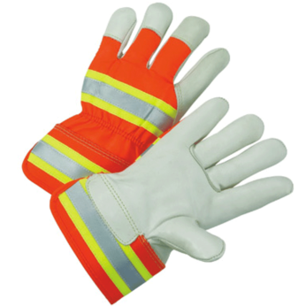 HI-VIS ORANGE SPLIT SHOULDER LEATHER GLOVES (DOZEN)