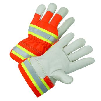 Hi-Vis Orange Leather Gloves with Safety Cuff (DOZ.)