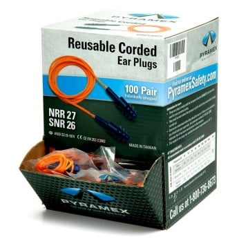 Reusable Corded Triple Flanged Ear Plugs (Box of 100 pr)