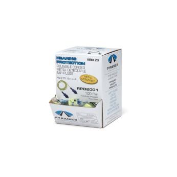 Reusable Metal Detectable Corded Ear Plugs (Box of 100 pr)