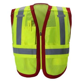 ANSI 207 HI-VIS SAFETY VEST WITH COLOR TRIM